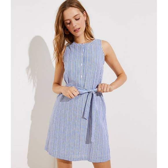 LOFT Dresses & Skirts - LOFT Striped Tie Waist Henley Dress pcl